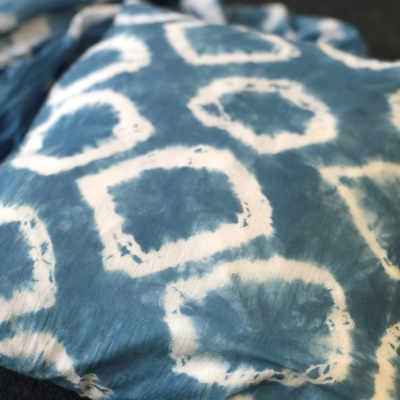 Indigo Dyed Fabric with Shibori Circle Technique