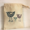 3 Standing Birds Fabric Drawstring Gift Bag