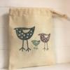 3 Standing Birds Fabric Drawstring Gift Bag