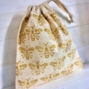 Gold Detailed Bee Fabric Drawstring Bag