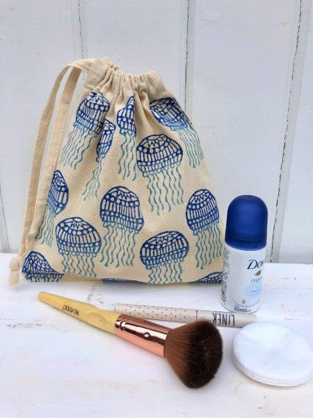 Hand printed Jellyfish Washbag
