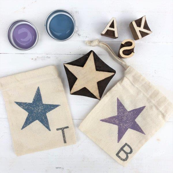 Hand Block Print Your Own Fabric Gift Bags