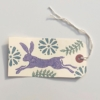 Hare and Seed Head Block Printed Gift Tag