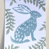 Hare and Seed Head Block Printed Card