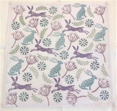 Hare and Seed Head Block Printed Napkin