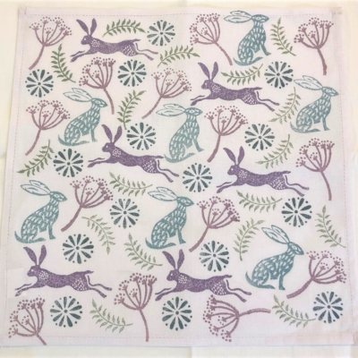 Hare and Seed Head Block Printed Napkin