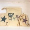 Hand Printed Fabric Drawstring Bags