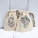 Block Printed Paisley Drawstring Bags
