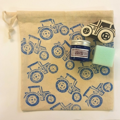 Drawstring Bag Block Printing Kit- Blue Tractor