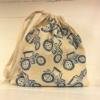 Block Printing Fabric Kit- Drawstring Bag Blue Tractor