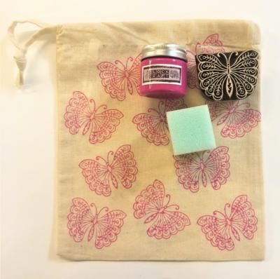 Indian Block Printing Kit- Pink Butterfly Drawstring Bag