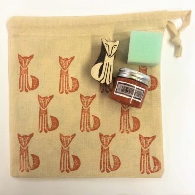 Indian Block Printing Drawstring Kit- Brown Fox