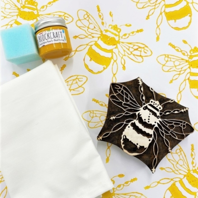 Block Printing Kit- Large Mustard Bee Tea Towels