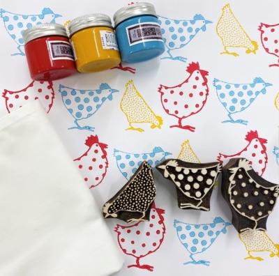 Block Print Kit- 3 Chicken Designs