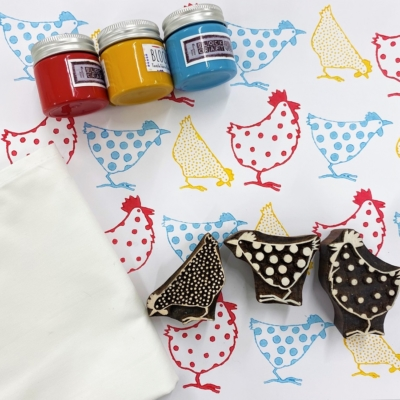 Block Print Kit- 3 Chicken Designs