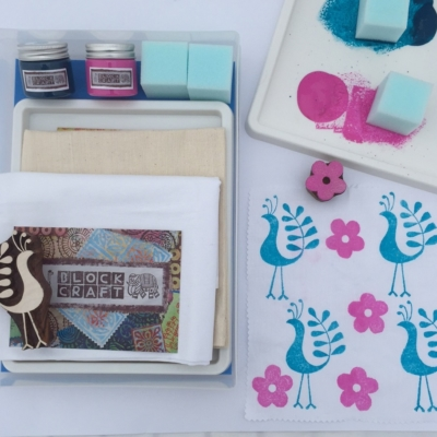 Complete Indian Block Printing Kit- Funky Bird & Flower