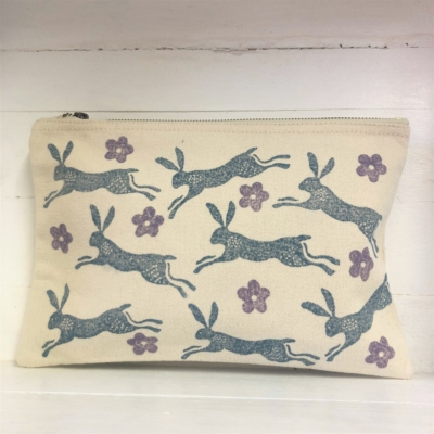 Indian Block Printing Fabric Kit- Leaping Hare Pouch