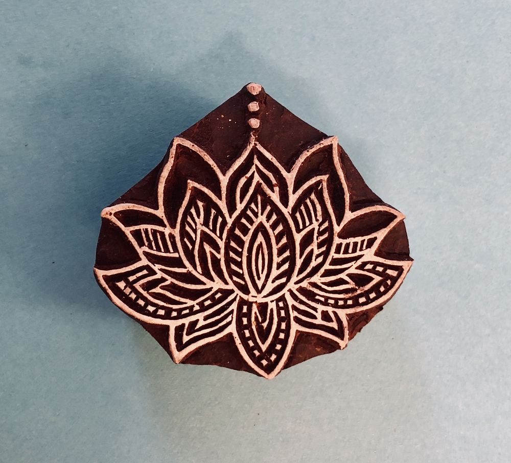 Indian Wooden Printing Block Lotus Flower Arty Crafty