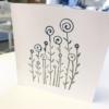 Block Printed Card- Flower Garden design. Midnight & Khaki