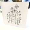 Block Printed Card- Flower Garden design. Violet & Khaki