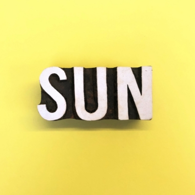 Indian Wooden Printing Block- Sun Text