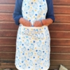Organic Cotton Apron- Block Printed Starry Chickens