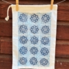Organic Cotton Weave Drawstring Bag- Blue Flower Tile design
