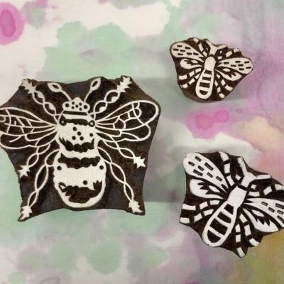 Indian Block Printing Set - Trio of Bees