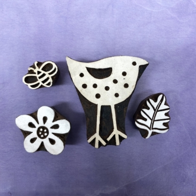 Indian Block Printing Set- Bird & Flowers