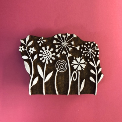 Indian Wooden Printing Block- Flower Garden Tile