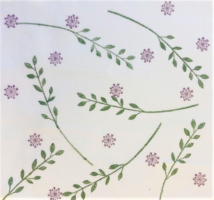 Indian Wooden Printing Block- Long Leaf Stem