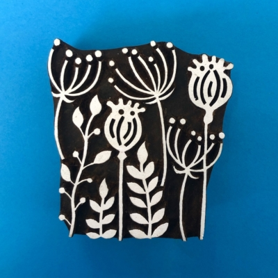 Indian Wooden Printing Block- Poppy Seed Head Tile