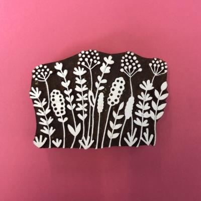 Indian Wooden Printing Block- Seed Head Scene