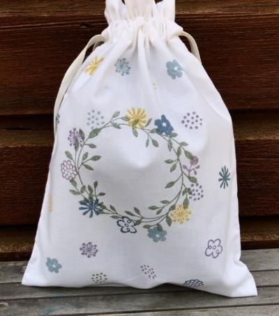 Beautiful Block Printing Organic Drawstring Bag