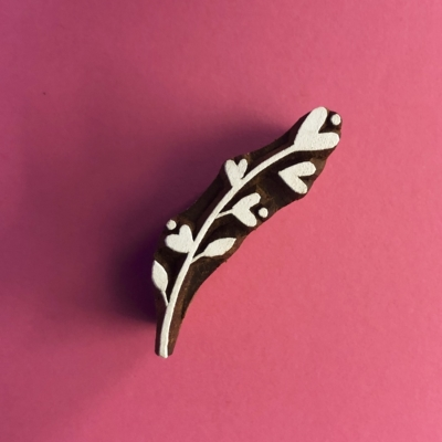 Indian Wooden Printing Block- Heart Twig