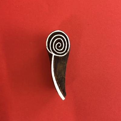 Indian Wooden Printing Block- Small Spiral Head Flower