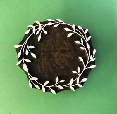 Indian Wooden Printing Block- Large Wreath