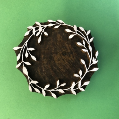 Indian Wooden Printing Block- Large Wreath