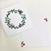 Wreath and Berries Block Printed Christmas Card