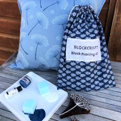 Indian Block Printing Kit- Botanical Cushion Cover