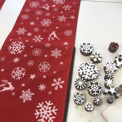 Christmas Table Runner Block Printing Workshop