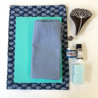 Contents of Block Printing Botanical Cushion Cover Kit
