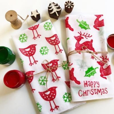 Hand Block Printed Christmas Napkins