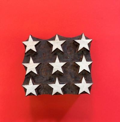Indian Wooden Printing Block- 9 Stars Tile