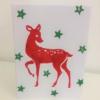 Block Printed Bambi Christmas Card