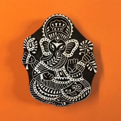Indian Wooden Printing Block- Large Detailed Ganesha