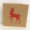 Block Printed Red Bambi Christmas Card