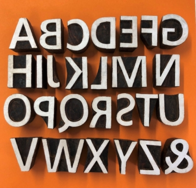 Indian Wooden Printing Blocks- Alphabet Set Bold Capitals