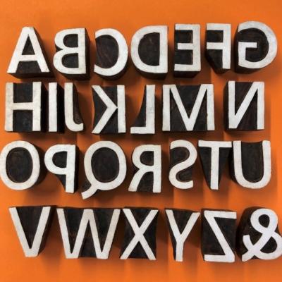 Indian Wooden Printing Blocks- Alphabet Set Bold Capitals