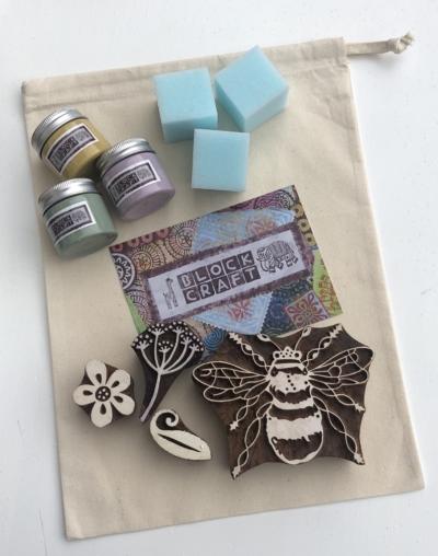 Drawstring Shopping Bag- Floral Bee